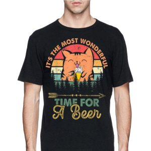 Beer Meow Cat Kitty Wonderful Time For Beer shirt