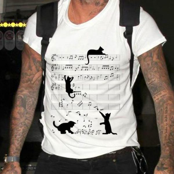Black Cat Playing Mucsic Note Clef Musician hoodie
