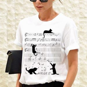 Black Cat Playing Mucsic Note Clef Musician hoodie 2