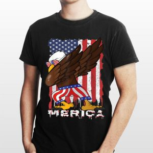 Dabbing Eagle Kids 4th of July Merica Flag Pride USA shirt