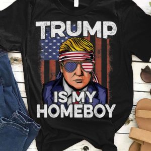 Donald Trump Is My Homeboy Glasses Headband Usa Flag 4th Of July guy tee