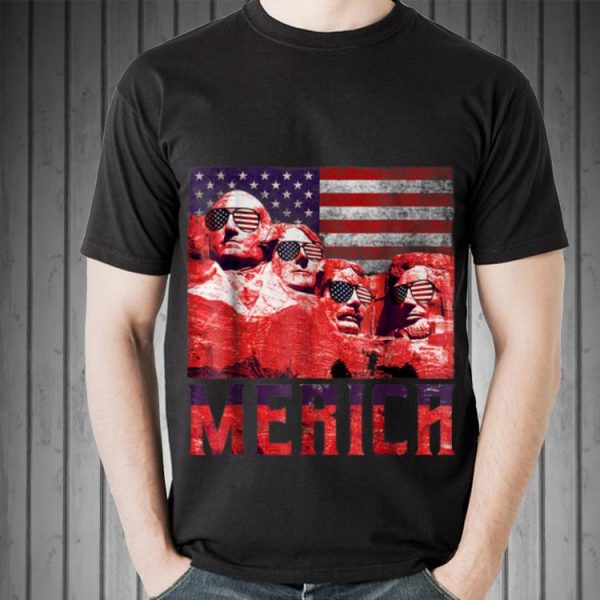 Merica 4th of July Mount Rushmore US Flag Sweater
