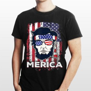 Merica Abraham Lincoln Abe 4th of July USA America US Flag shirt
