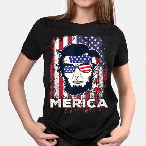 Merica Abraham Lincoln Abe 4th of July USA America US Flag shirt