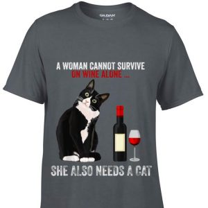 Siamese Cats A Women Cannot Survive On Wine Alone She Also Need Cats sweater
