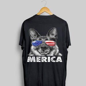 Sunglass German Shepherd 4Th Of July Merica Usa Flag shirt