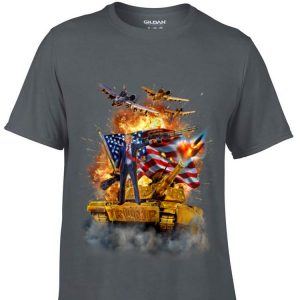 United States President Donald Trump Epic Battle Tank Jet Plane American Flag sweater