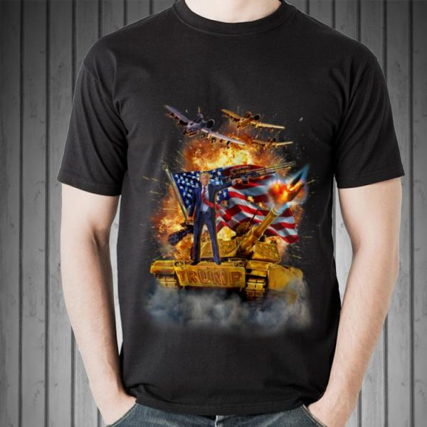 United States President Donald Trump Epic Battle Tank Jet Plane American Flag sweater