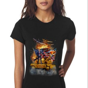 United States President Donald Trump Epic Battle Tank Jet Plane American Flag sweater 2