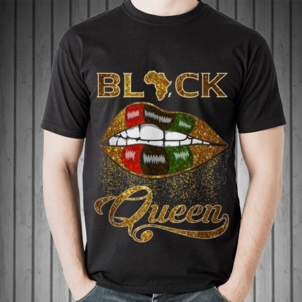 Awesome Black Queen Lips Red Green African Flag shirt