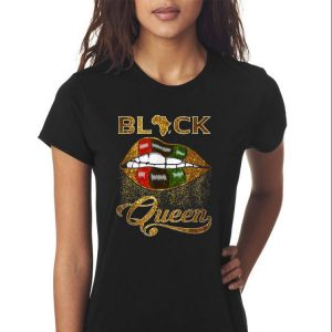 Awesome Black Queen Lips Red Green African Flag shirt 2
