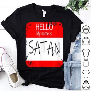 Awesome Hello My Name Is Satan Funny Halloween Devil Costume shirt