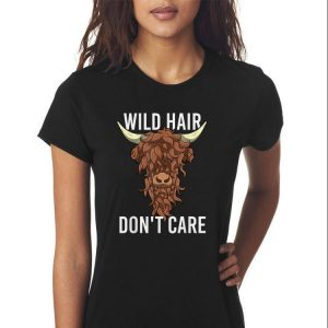 Awesome Highland Cow Wild Hair Don't Care shirt 2