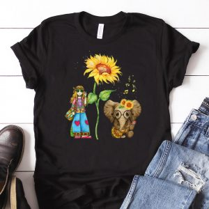 Awesome Hippie Girl Sunflower Elephant Guitar shirt