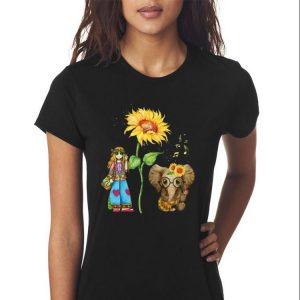 Awesome Hippie Girl Sunflower Elephant Guitar shirt 2