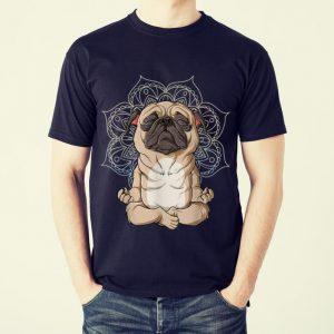 Funny Pug Yoga Spiritual Meditation Mandala Let It Be shirt