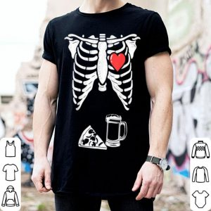 Hot Skeleton Pregnancy Pizza Beer Xray Halloween Soon Dad shirt