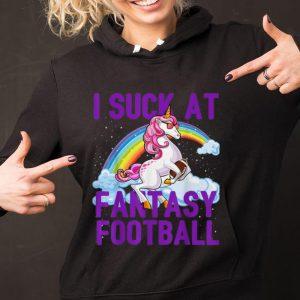 Original I Suck at Fantasy Football Unicorn Sunglass Rainbow shirt