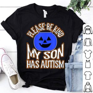 Awesome Blue Pumpkin Bucket Halloween Be Kind My Son Has Autism shirt