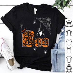Boo Halloween With Spiders And Witch Hat Funny shirt