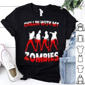 Chillin With My Zombies Halloween Boys Kids Funny shirt