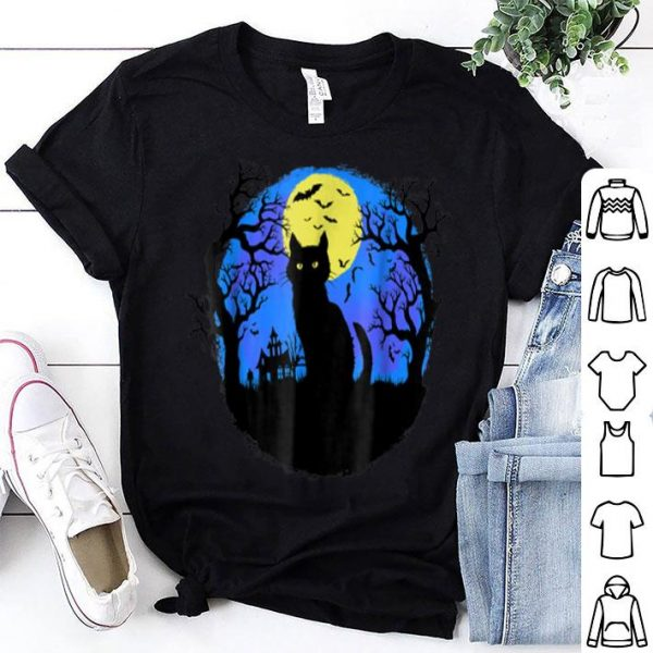 Funny Cute Scary Black Cat at Night Halloween Bats shirt