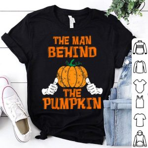 Hot Mens Halloween Pregnancy Baby Reveal Man Behind The Pumpkin Funny shirt