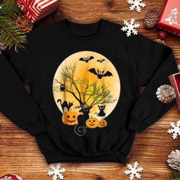 Official Black Cat Witch Owl Bat Smile Pumpkin Face Halloween shirt