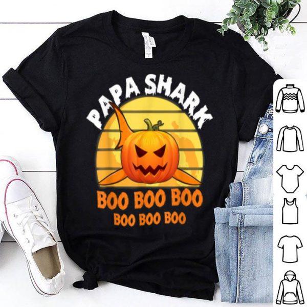 Official Mens Mens Papa Shark Boo Pumpkin Halloween Gifts shirt