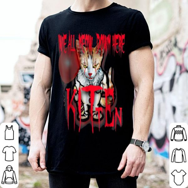 Official Scary Halloween We All Meow Down Here Kitten Cat shirt