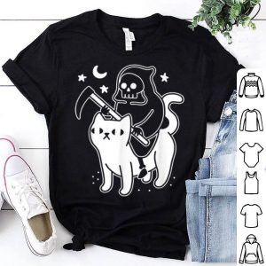 Original Death Rides A Black Cat Funny Halloween Costume Scary shirt