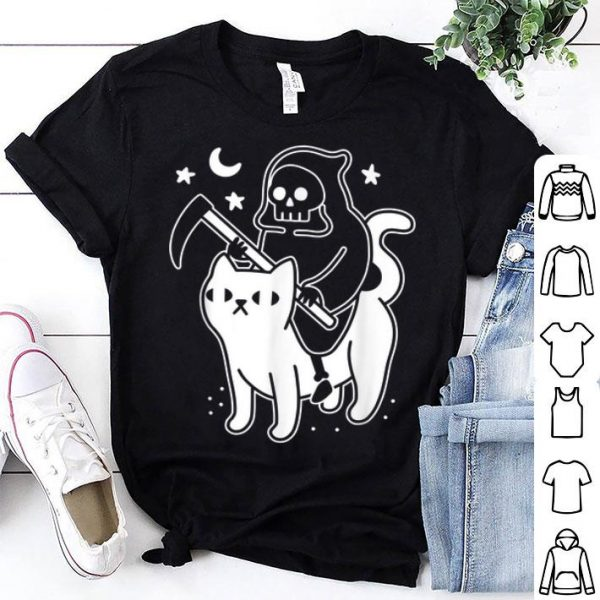 Original Death Rides A Black Cat Funny Halloween Costume Scary shirt