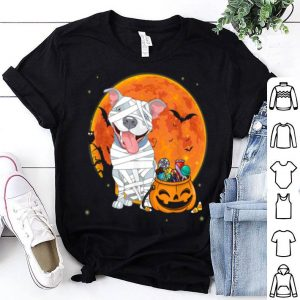 Pitbull Dog With Candy Pumpkin Halloween Gifts shirt