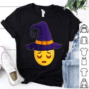 Premium Halloween Costume Emoji Emoticon Witch Hat Pensive Face shirt