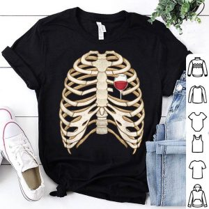 Skeleton Rib Cage Wine Heart Funny Halloween Costume shirt