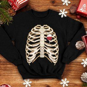Skeleton Rib Cage Wine Heart Funny Halloween Costume shirt