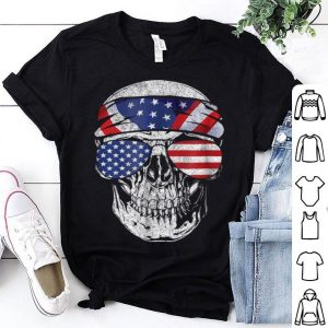 Top July 4th American Flag Skull Patriotic Gift Tee shirt