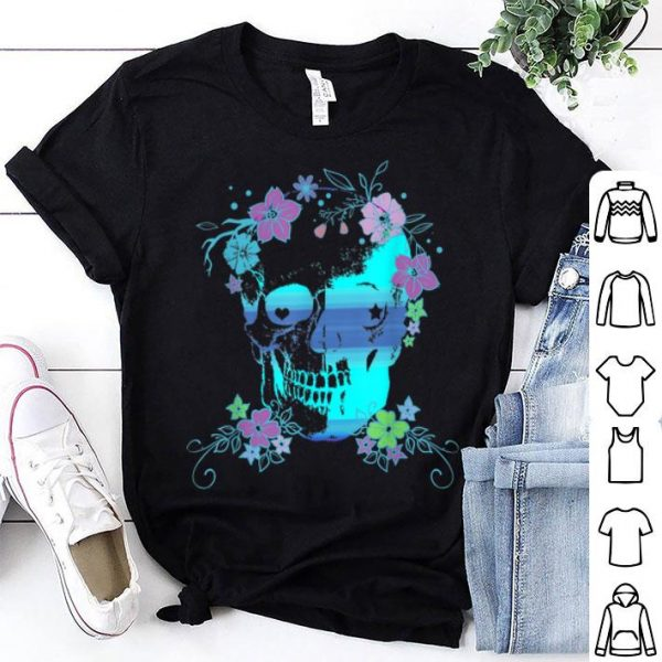 Beautiful Skull and Flowers, Halloween, Rave, Concert shirt