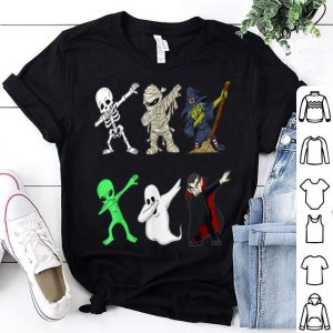 Funny Dabbing Skeleton And Monsters Halloween Boys Girl Kids shirt