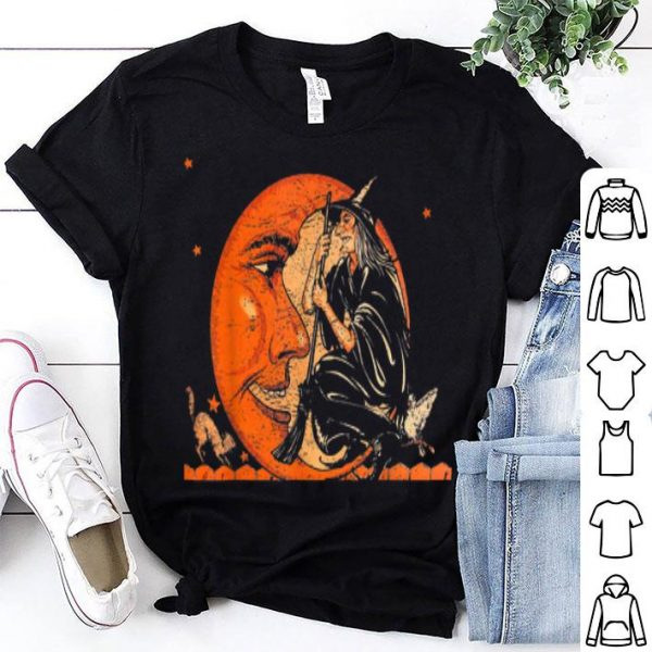 Hot Great Vintage Witch and Moon Halloween shirt
