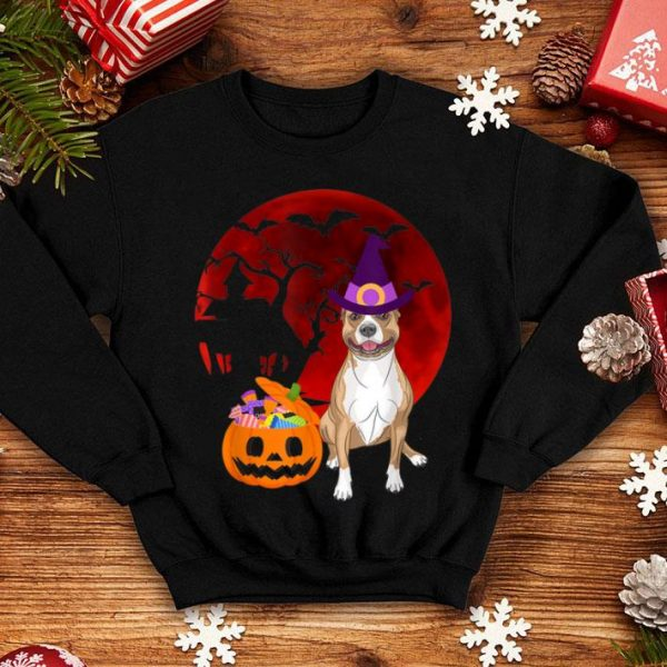 Nice Pitbull Brown Dog with witch hat Candy Pumpkin Halloween shirt