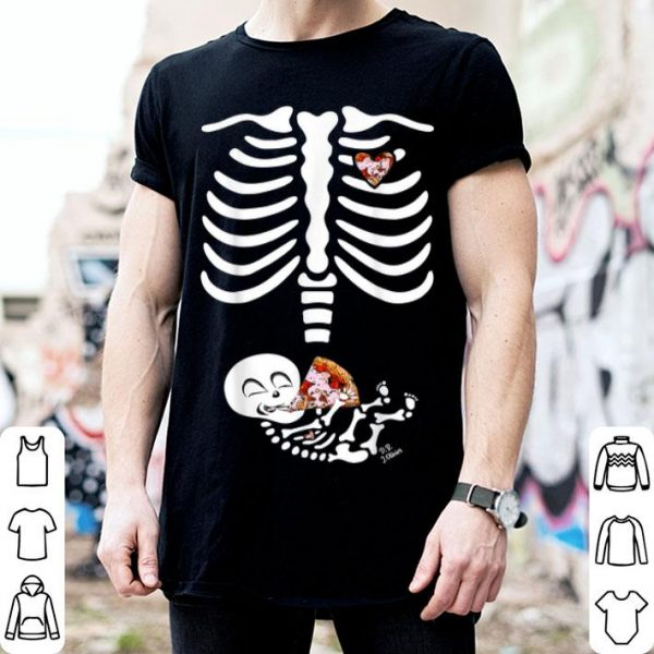 Official baby sekeleton ribs - pregnant with slice pizza halloween shirt