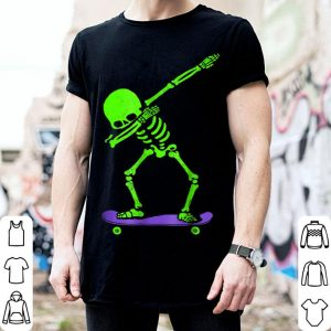 Original Halloween Dabbing Skeleton SKATEBOARD Dab Skate GLOW shirt