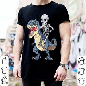Premium Skeleton Riding Dinosaur T rex Halloween Kids Boys shirt
