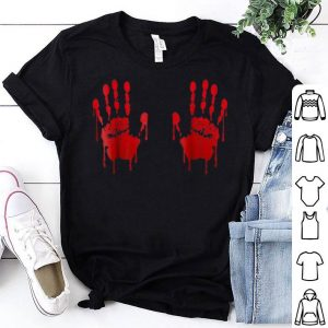 Top Blood Hand prints on boobs Halloween shirt