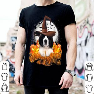 Top Cute Saint Bernard dog witch on Halloween pumpkin shirt