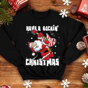Beautiful Have A Rockin' Christmas Gift Guitarist Santa Guitar Funny shirt