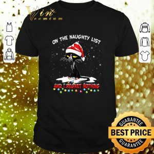 Cheap Black cat On the naughty list and i regret nothing Christmas shirt