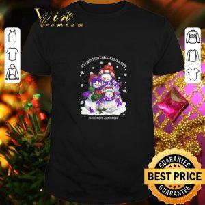 Cheap Snowman all I want for Christmas is a cure Alzheimer's Awareness shirt