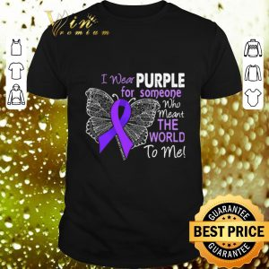 Funny Butterfly i wear purple for someone world Alzheimer's Awareness shirt